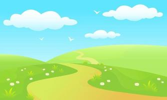 Glade with path, blue sky vector