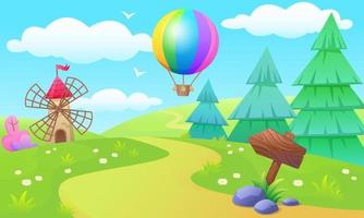 A glade with a path to the mill, a hot air balloon in the sky vector
