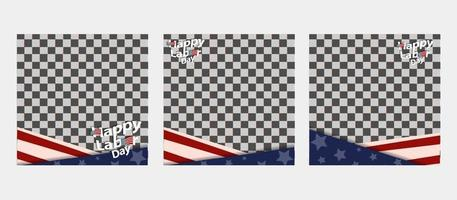 Labor Day online social media, web banner, beautiful text, flag, star vector