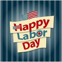 Happy Labor day American text sign, vector