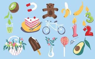 Birthday celebration doodle illustration vector set