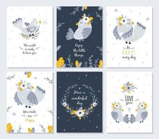 Set of cards with cute birds and flowers. Vector
