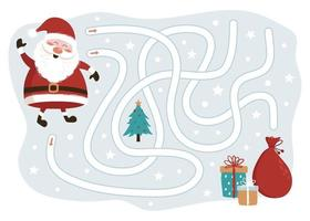 Christmas Maze Game. Santa Claus Way to the Gifts. Vector