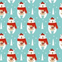 Seamless pattern with christmas bear. Vector