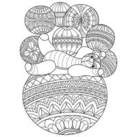 Teddy bear and balls hand drawn for adult coloring book vector