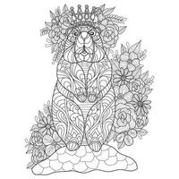 Bear and flowers hand drawn for adult coloring book vector