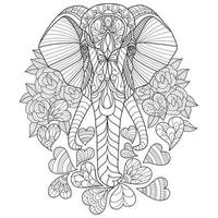 Elephant and heart hand drawn for adult coloring book vector