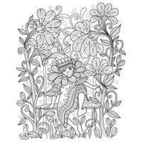 Elf in the garden hand drawn for adult coloring book vector