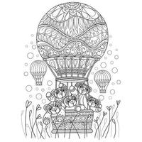Teddy bears and hot air balloon hand drawn for adult coloring book vector