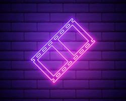 Neon filmstrip isolated on brick wall background. Bright glowing vector