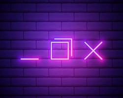 Neon light. Browser window icon. Internet page symbol. Website vector