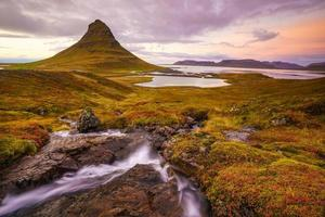 Landscapes and waterfalls. Kirkjufell mountain in Iceland photo