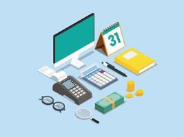 Payment terminal with calculator and money vector
