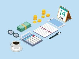 Tax calculator with notebook and mobile phone vector