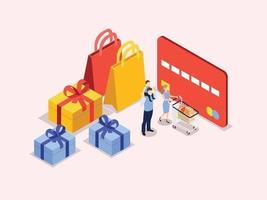 Family with shopping cart and credit card vector