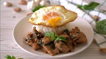 basilika på ris med stekt ägg video
