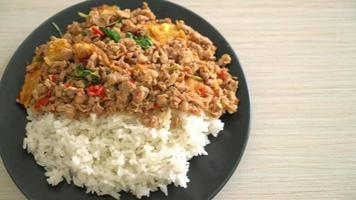 porc frit au basilic et oeuf sur riz video