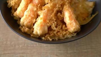 tazón de arroz tempura de camarones fritos - estilo de comida japonesa video