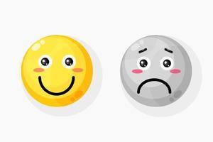 Smile and sad emoticon icon vector