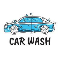 Car wash logo with bubbles in Doodle style vector