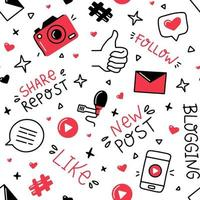 Blogging and social networks vector seamless pattern