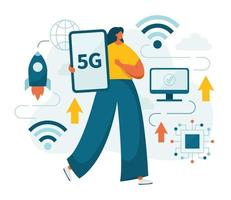 Woman and 5g network fifth generation telecom vector