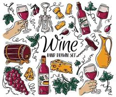 Vector color set with wine and cheese in Doodle sketch style