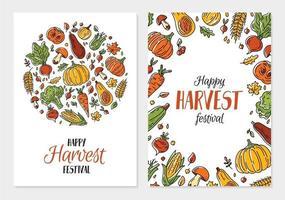 Happy autumn harvest festival vector poster template