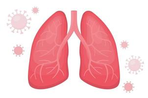 Healthy human lungs with viral pneumonia covid vector