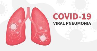 Human lungs and viral pneumonia covid coronavirus vector