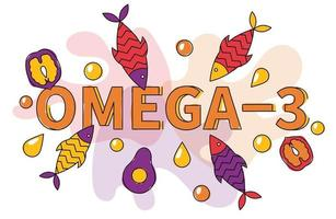 Omega three sources oil flat vector banner