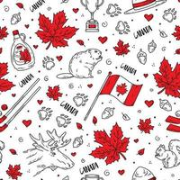 Happy Day of Canada, a seamless pattern with icons vector