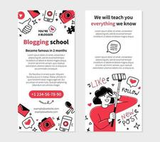 Blogging school flyer for printing in Doodle style vector