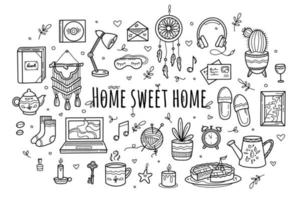 Sweet cozy home icons in hand drawing doodle style vector