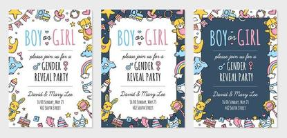 Gender reveal party invitation template, boy girl vector