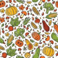 Autumn harvest seamless pattern with vegetables and mushrooms vector