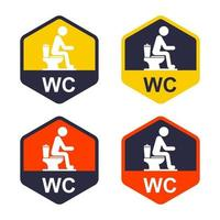 set of icons on the door with the designation of a public toilet. vector