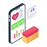 Mobile Cardiogram App vector