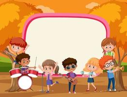 Empty banner with kids playing different musical instruments vector