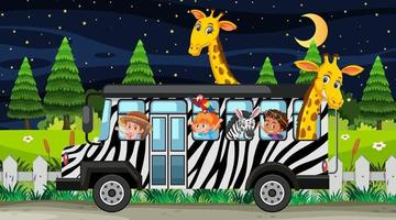 Safari at night scene with children and animals on the bus vector