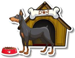 Sticker design with miniature pinscher standing in front of dog house vector
