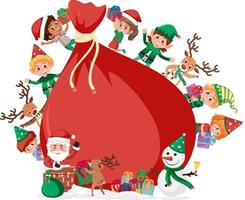 Empty gift bag with many kids in Christmas theme vector