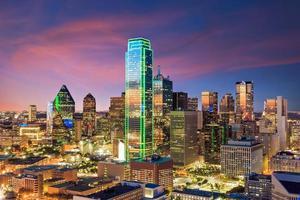 Dallas, Texas cityscape with blue sky photo