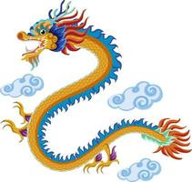 Chinese dragon flying over clouds isolated on white background vector