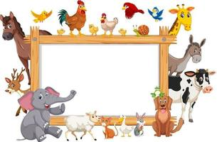 Empty wooden frame with various wild animals vector