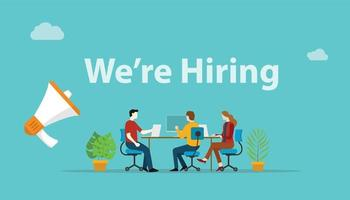 we are hiring recruitment concept with megaphone and team vector