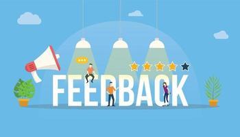 feedback big word customer rating with people team office vector