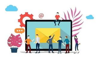 email marketing report business team meeting to brainstorming vector