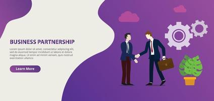 business partnership business deal in the website design vector