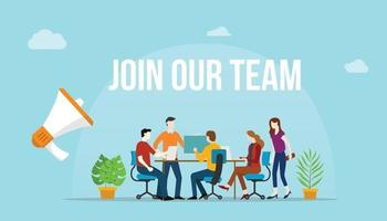 join our team concept with team people working together vector